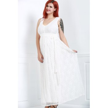 Sleeveless V-Neck Lace Plus Size Princess Dress