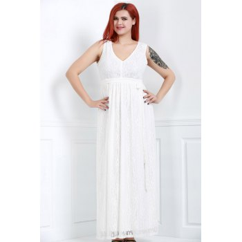 Sleeveless V-Neck Lace Plus Size Princess Dress - 2XL 2XL
