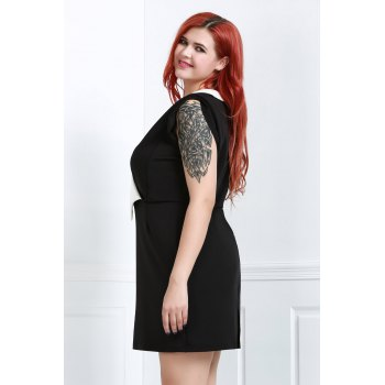 OL Style Sleeveless Plunging Neck Hit Color Women's Bodycon Dress - BLACK 2XL