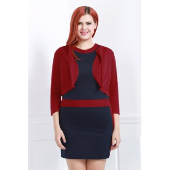 Sext Jewel Neck Color Block Bodycon Dress and Red Jacket Twinset For Women