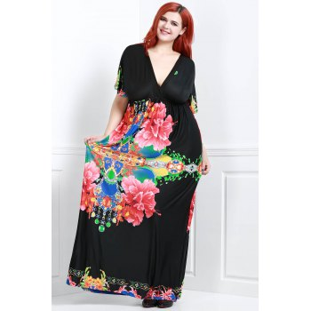 Bohemian Flower Print V-Neck Short Sleeve Dress For Women