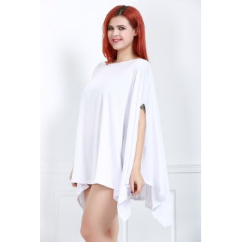 Handkerchief Plus Size Caped Top with Batwing Sleeve - WHITE 2XL