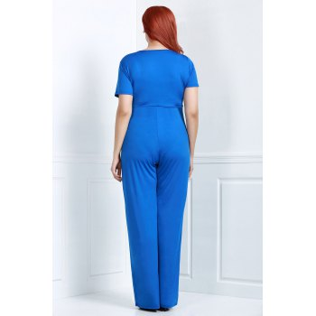 Charming Hollow Out Lace-Up V-Neck Solid Color Wide-Leg Jumpsuit For Women - BLUE L