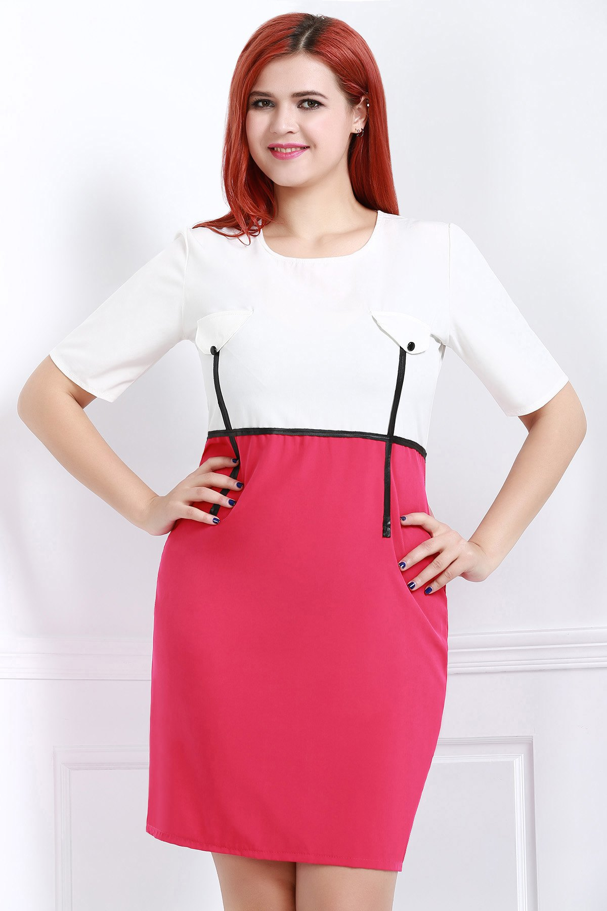 Stylish Scoop Neck Short Sleeve Plus Size Bodycon Women's Dress - ROSE 4XL