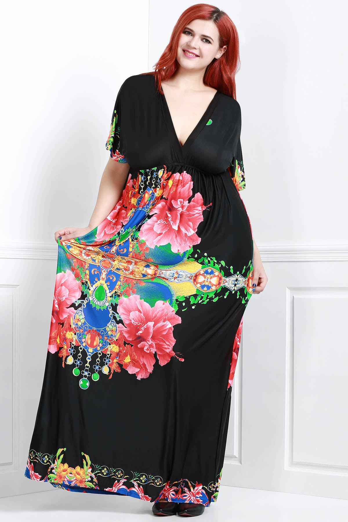 Bohemian Flower Print V-Neck Short Sleeve Dress For Women - BLACK 2XL