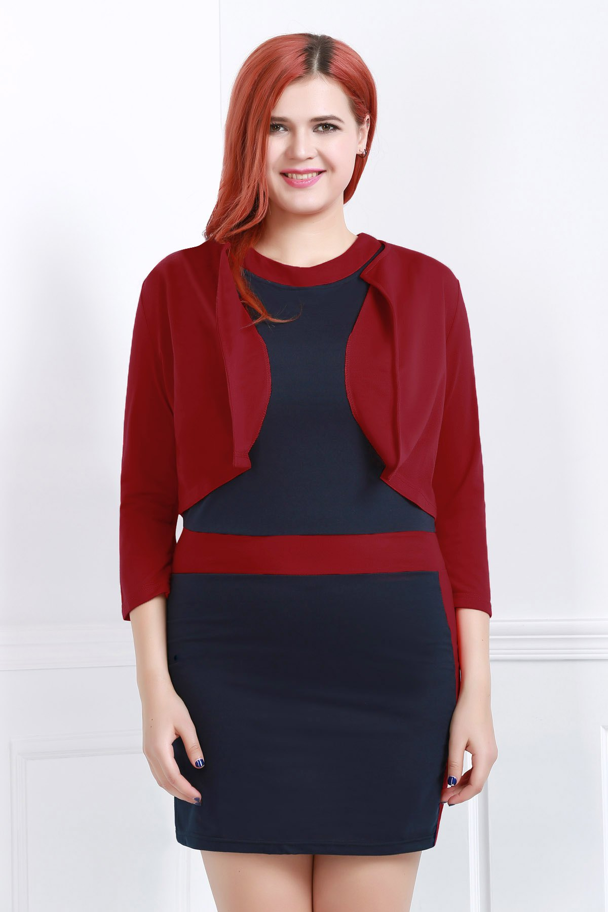 Sext Jewel Neck Color Block Bodycon Dress and Red Jacket Twinset For Women - RED 4XL