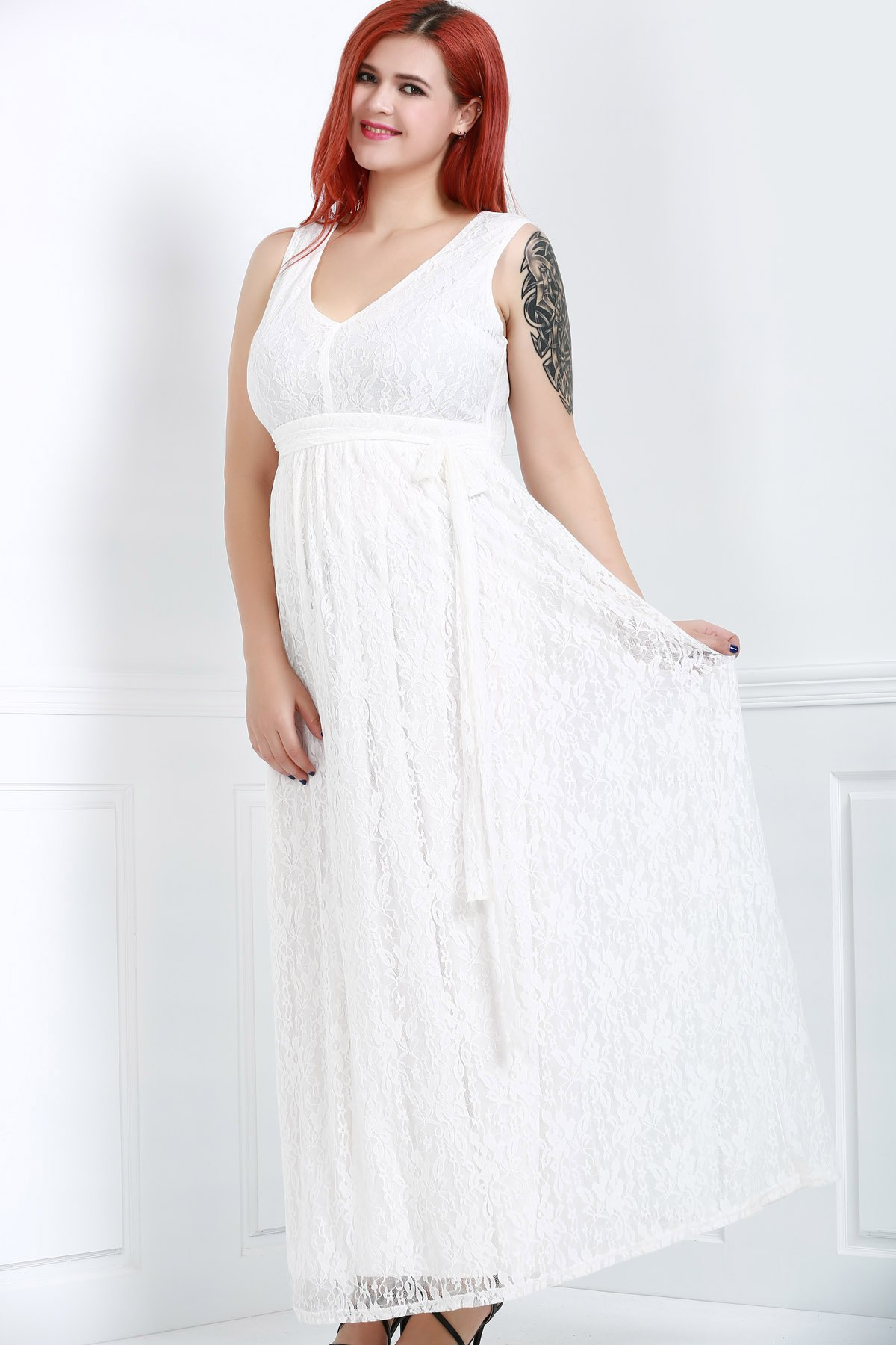 Women's Stylish Sleeveless V-Neck Lace Plus Size Dress - 2XL WHITE