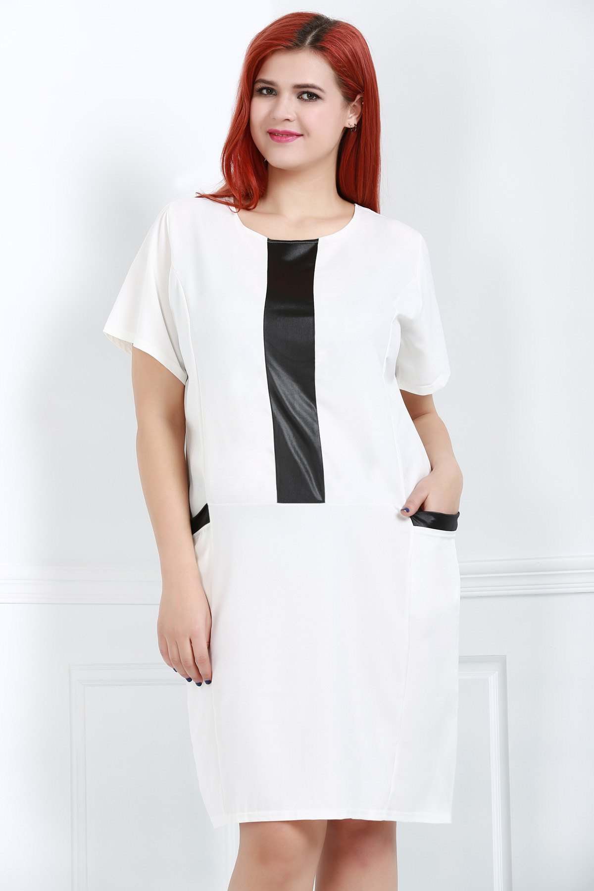 Fashionable Women's Scoop Neck Short Sleeve Dress - WHITE 2XL