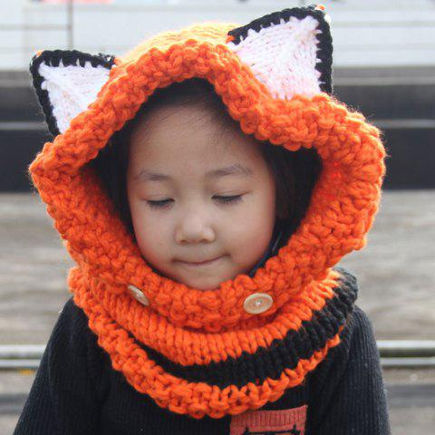 Cute Fox Ear Shape and Buttons Embellished Kids' Knitted Hooded Scarf - ORANGE