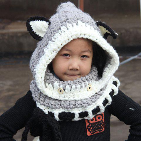 Chic Fox Ear Shape and Lace-Up Embellished Kids' Knitted Beanie - GRAY