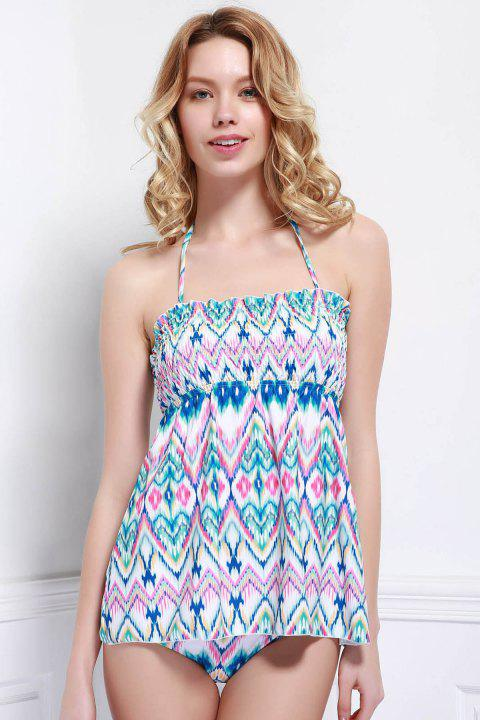 Refreshing Printed Halter Stretchy One-Piece Swimwear For Women - COLORMIX S