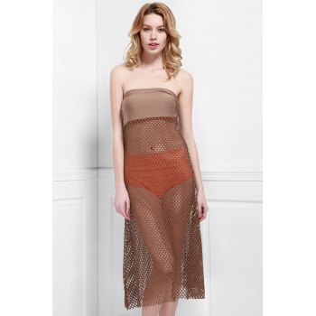 Mesh Hollow Out Skirt For Women - LIGHT COFFEE LIGHT COFFEE