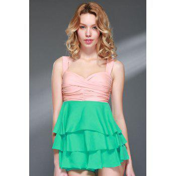 Women's Charming Multi-Layered Pleated Color Matching Backless Swimsuit