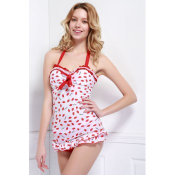 Halter Lip Embellished Flouncing Backless Women's Swinsuits - RED XL