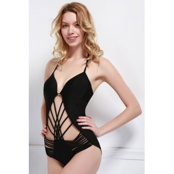 Sexy Halter Cut Out Solid Color One-Piece Women's Swimwear