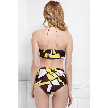 Fashionable Halter Printed High-Waisted Bikini Set For Women - COLORMIX L