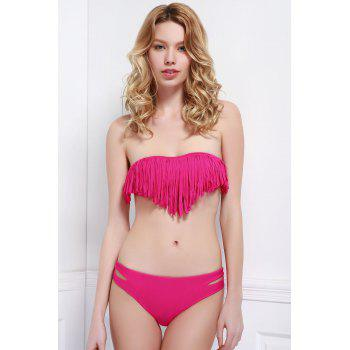 Fashionable Tassel Strapless Bikini Set For Women - PLUM PLUM
