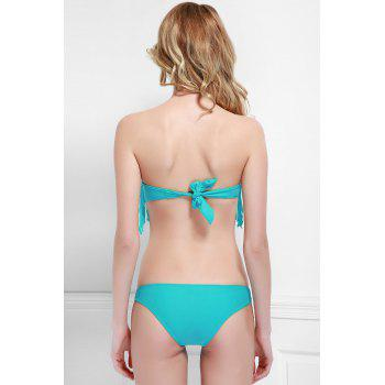 Fashionable Tassel Strapless Bikini Set For Women - AZURE AZURE