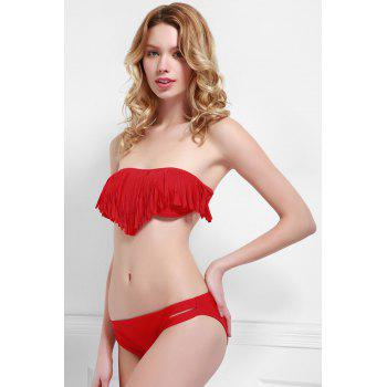 Fashionable Tassel Strapless Bikini Set For Women - RED RED