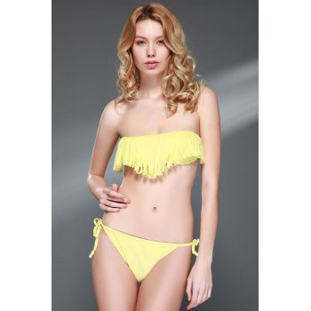 Fashionable Tassel Strapless Bikini Set For Women - YELLOW YELLOW