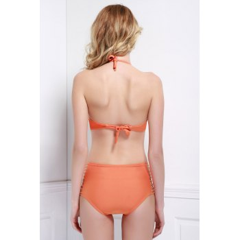 Hollow Out Solid Color Halter Bikini Set For Women - ORANGE S