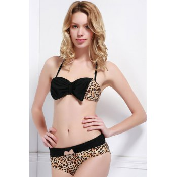 Sexy Strapless Spliced Leopard Print Women's Bikini Set