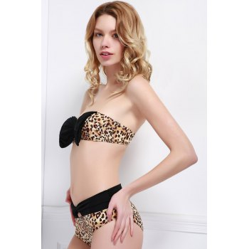 Sexy Strapless Spliced Leopard Print Women's Bikini Set - L L