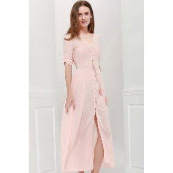Bohemian 3/4 Sleeve V Neck Printed Women's Maxi Dress - PINK L