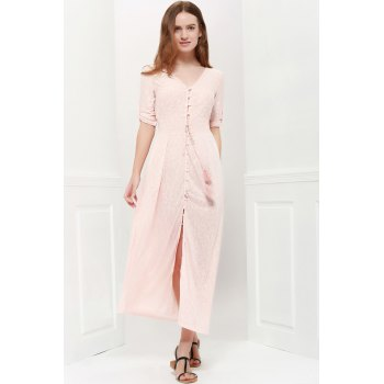 Bohemian 3/4 Sleeve V Neck Printed Women's Maxi Dress - PINK M