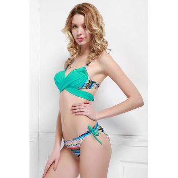 Cheeky Printed Wrap Bikini Set For Women - LAKE BLUE L