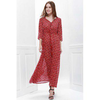 Printed High Slit Maxi Dress with Sleeves - RED XS