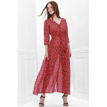 Printed High Slit Maxi Dress with Sleeves - L L