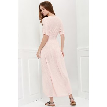 Bohemian 3/4 Sleeve V Neck Printed Women's Maxi Dress - PINK XL