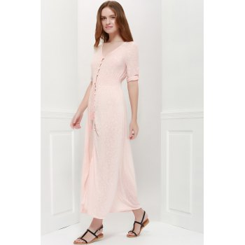 Bohemian 3/4 Sleeve V Neck Printed Women's Maxi Dress - PINK PINK