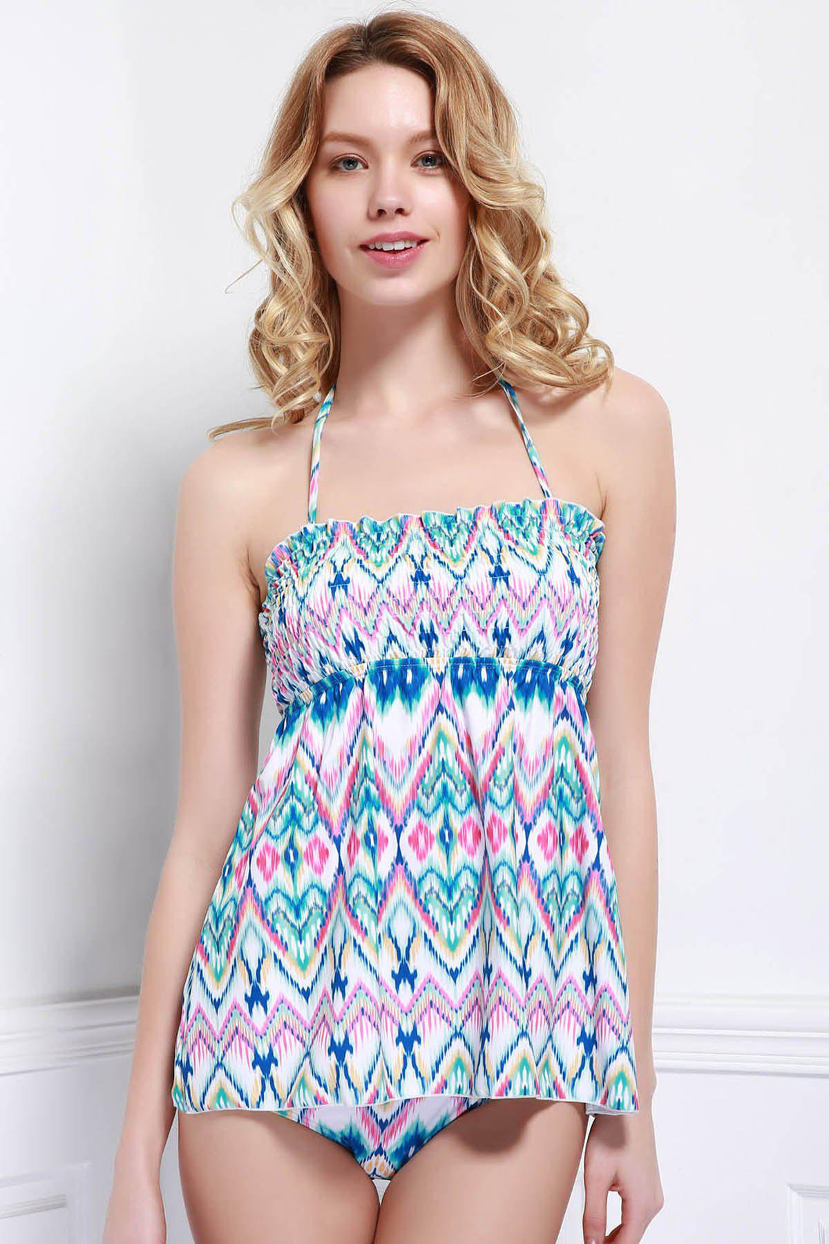 Refreshing Printed Halter Stretchy One-Piece Swimwear For Women - COLORMIX L