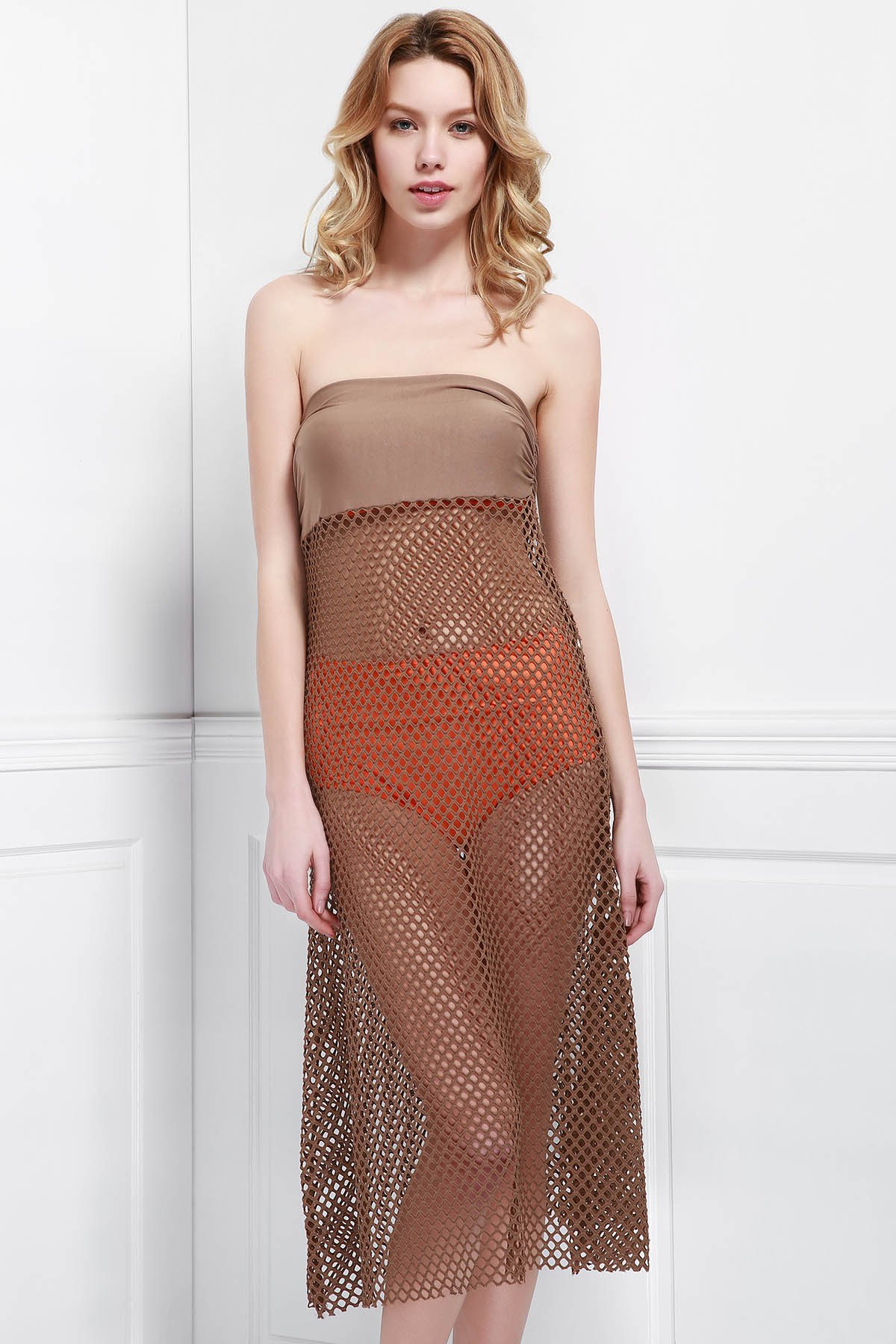 Mesh Hollow Out Skirt For Women - LIGHT COFFEE ONE SIZE(FIT SIZE XS TO M)