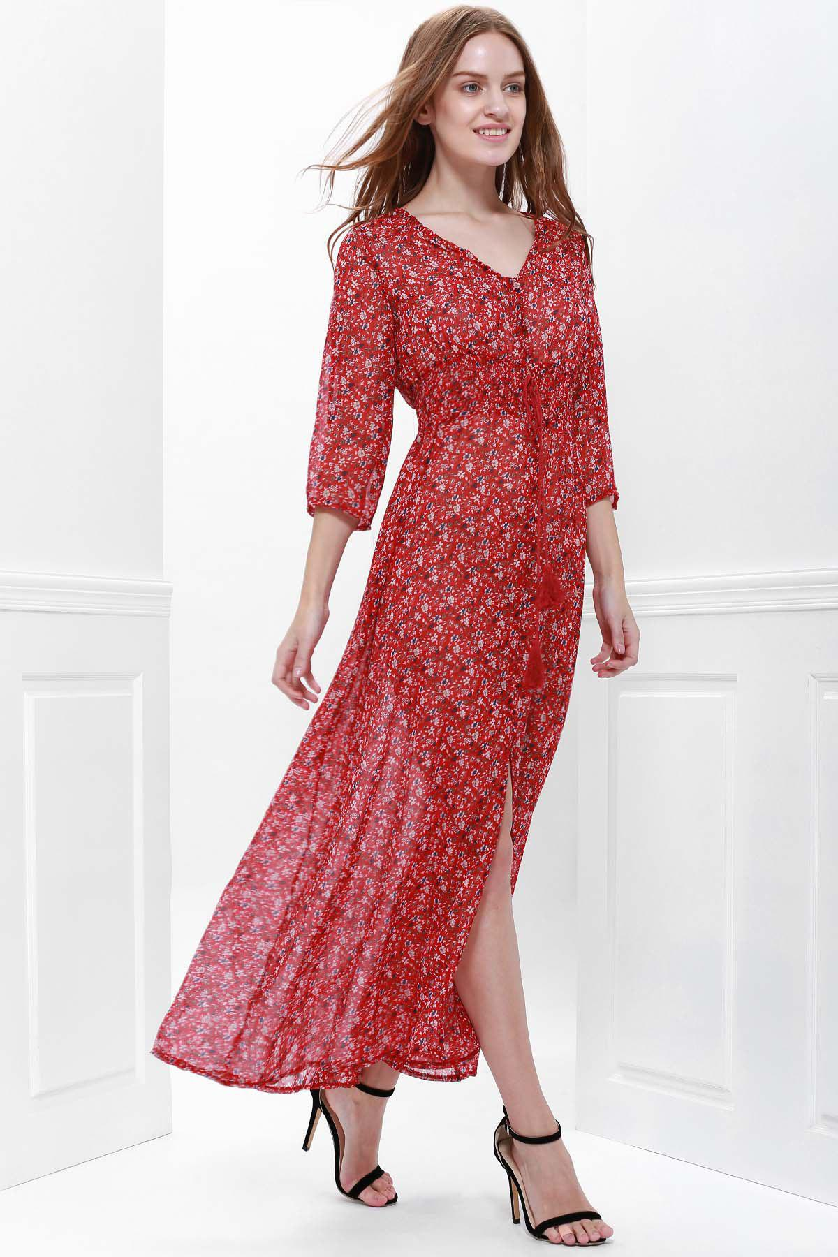 Bohemian Printed V-Neck High Slit 3/4 Sleeve Dress For Women