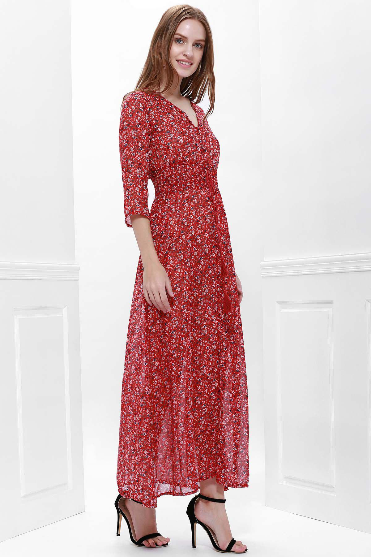 Printed High Slit Maxi Dress with Sleeves - RED L