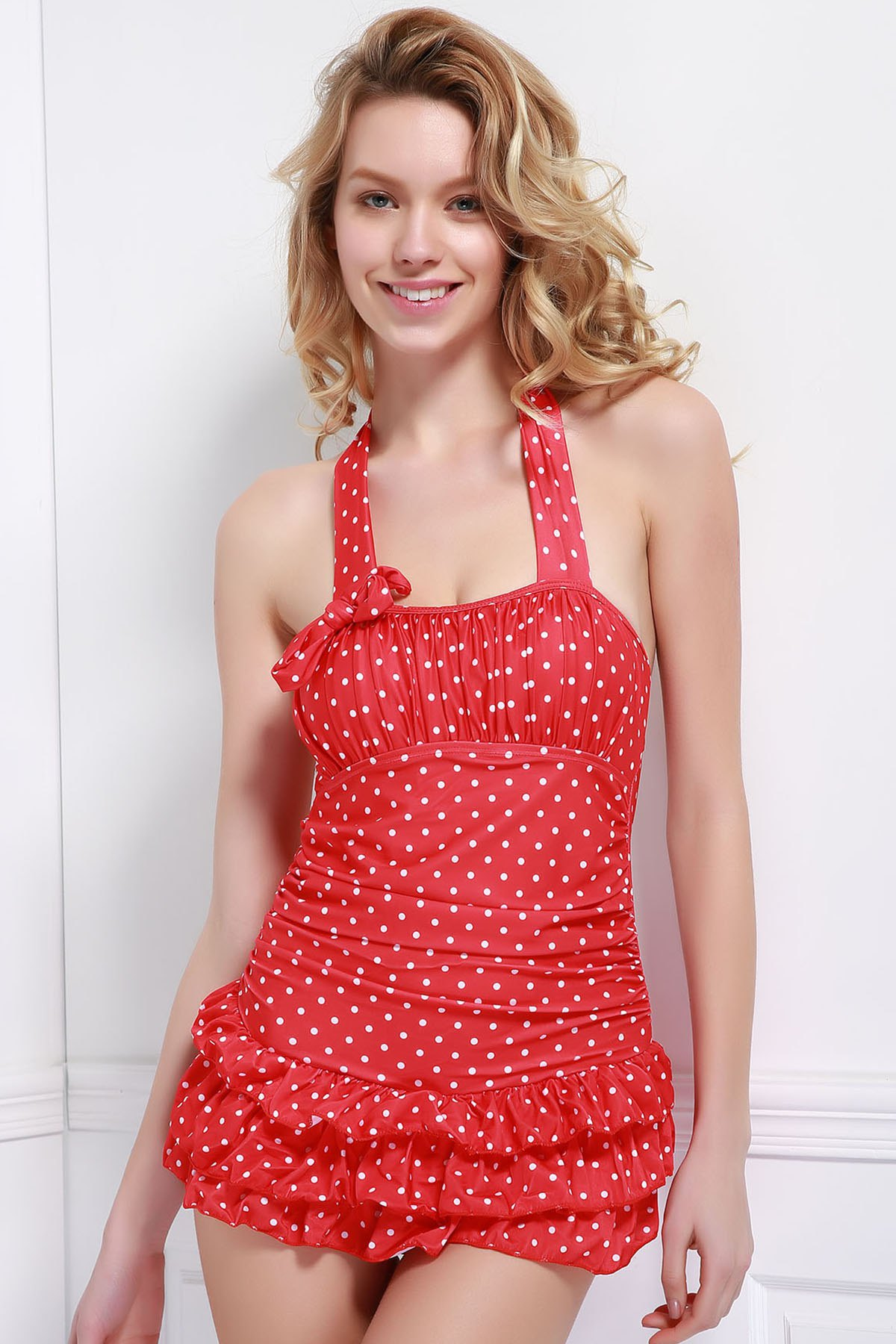 Women's Charming Multi-Layered Hollow Out Polka Dot Print One Piece Swimsuit - RED 2XL