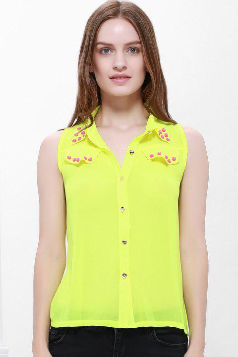 Stylish Stud Embellished Color Match Women's Chiffon Blouse - FLUORESCENT YELLOW M