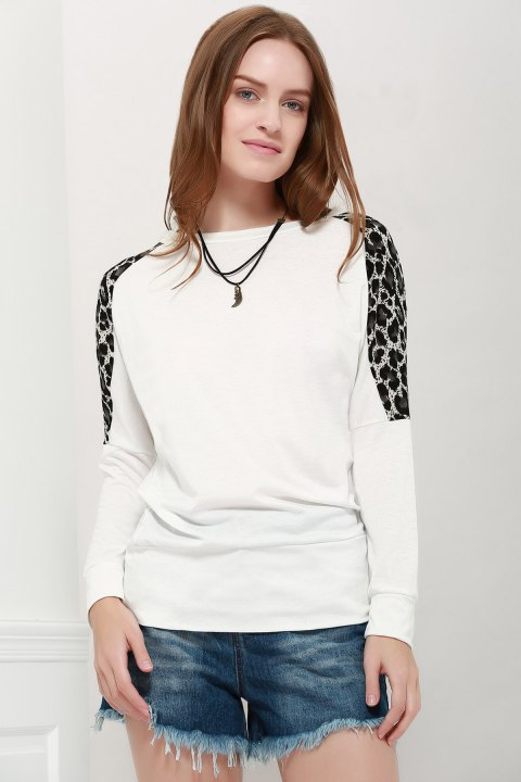Morden Style Loose-Fitting Leopard Splicing Long Sleeves Women's Long T-Shirts - WHITE ONE SIZE