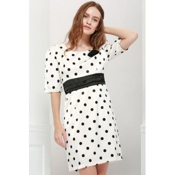 Lady Style Elegant Large Polka Dot Embellished Short Sleeves Dress For Women - AS THE PICTURE L