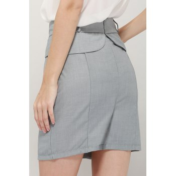 Graceful OL Style Women's Pencil Skirt(With Belt) - GRAY GRAY