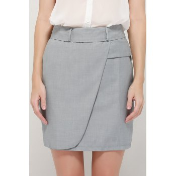 Graceful OL Style Women's Pencil Skirt(With Belt) - GRAY L