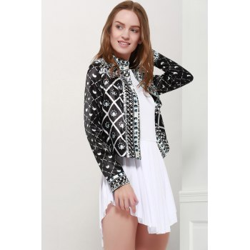 Fashionable Women's Stand Collar Long Sleeves Printed Jacket - BLACK L