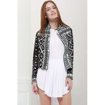 Fashionable Women's Stand Collar Long Sleeves Printed Jacket