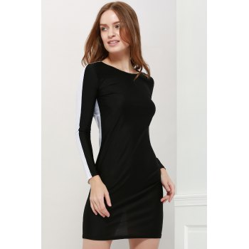 Women's Polyester Color Matching Hollow Out Backless Packet Buttock Alluring Dress - S S
