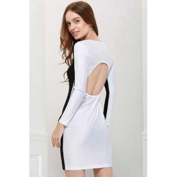 Women's Polyester Color Matching Hollow Out Backless Packet Buttock Alluring Dress