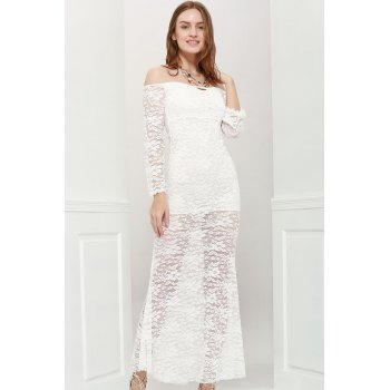 Sexy Style Off The Shoulder Long Sleeves Lace Women's Maxi-Dress