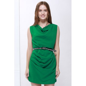 Slimming Cowl Neck Sleeveless Belt Design Solid Color Packet Buttock Dress